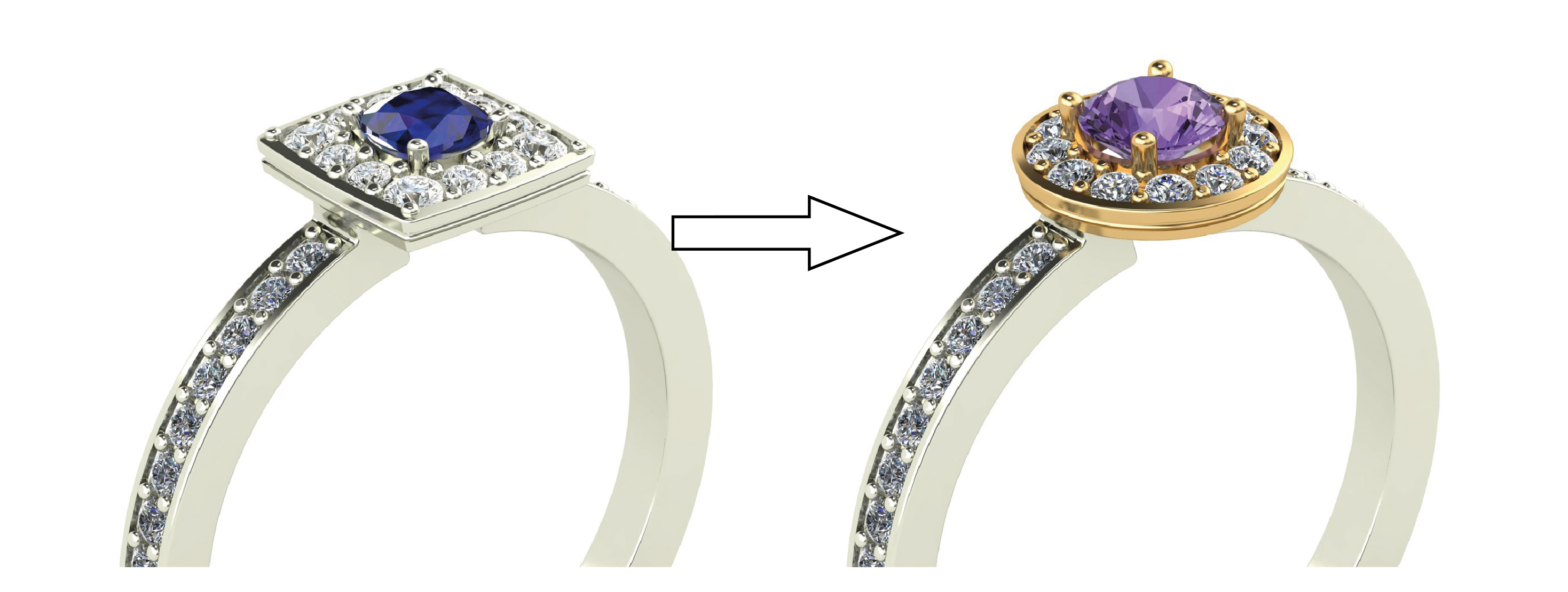 changing the top halo shape on the ring - custom wedding ring design