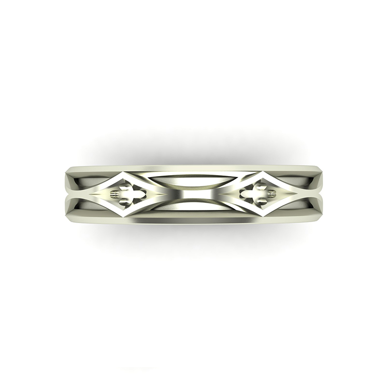 Cathedral ladies wedding ring top view