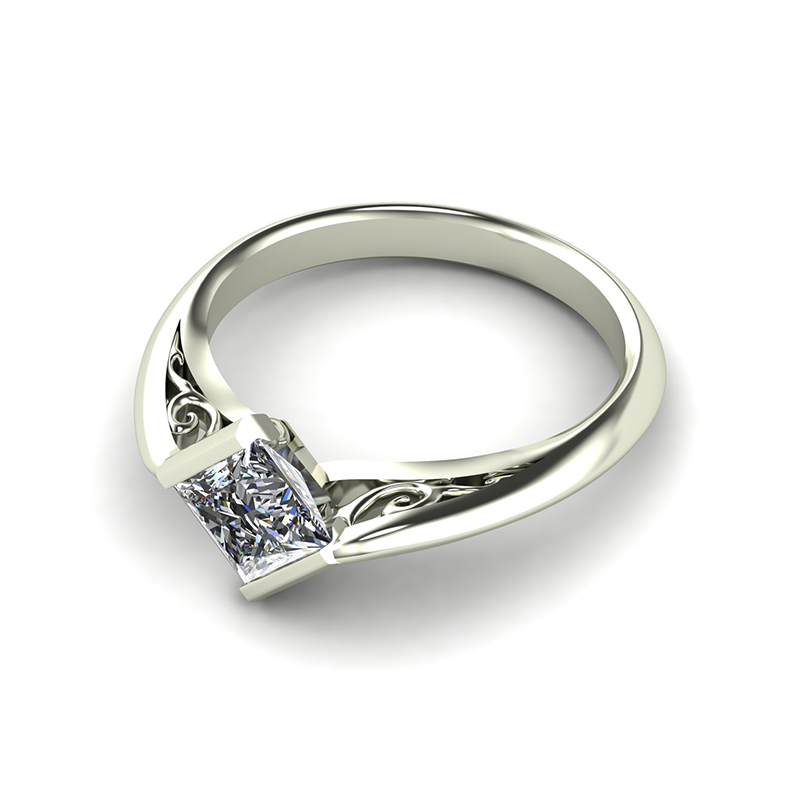 Edge Crossover Filigree Engagement Ring
