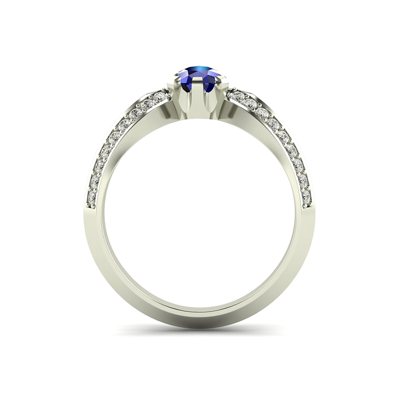 Pagoda Ladies Wishbone Engagement Ring With Pear Cut Sapphire Cad