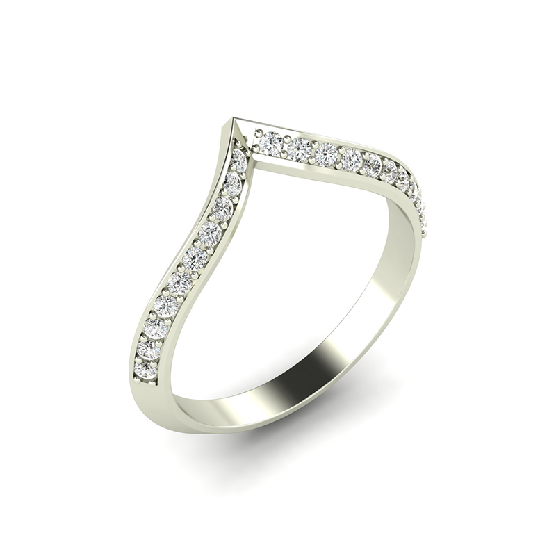 Pagoda wishbone eternity ring with diamond pave