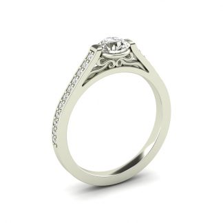 Sheridan engagement ring with open tip set round diamond