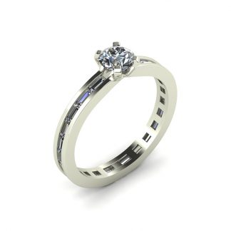 Ultralight platinum solitaire engagement ring