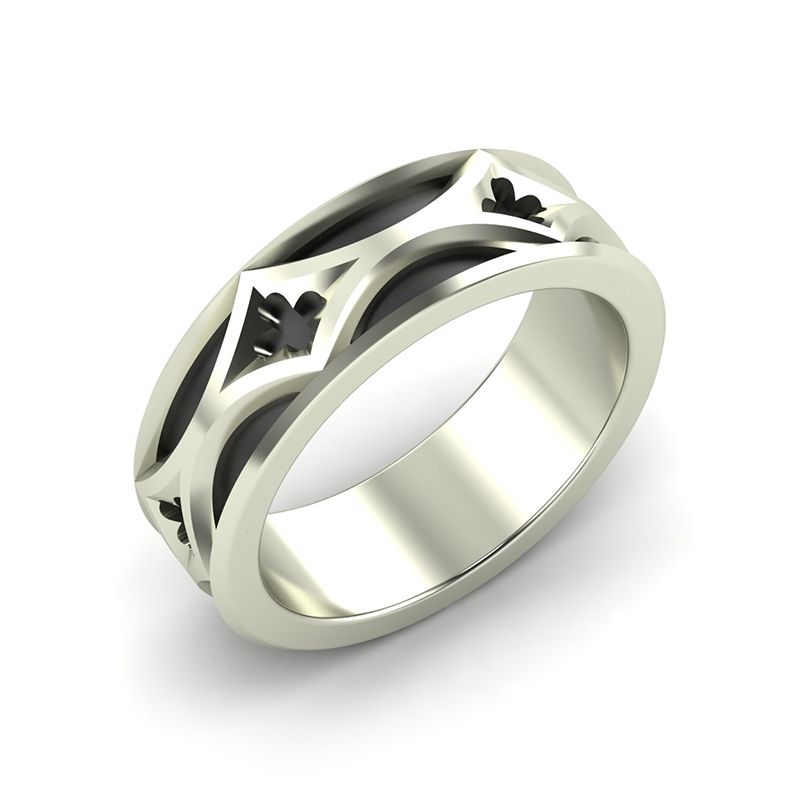 Cathedral Men's Band - 18ct white gold with black rhodium plating