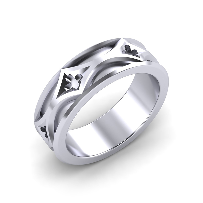 cathedral mens architectural wedding band platinum