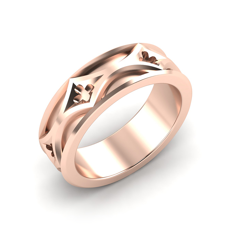 cathedral mens architectural wedding band 18ct rose gold