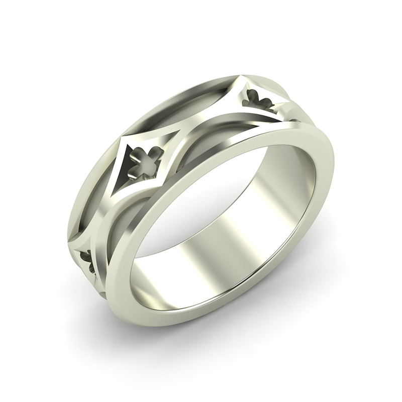 cathedral mens architectural wedding band 18ct white gold