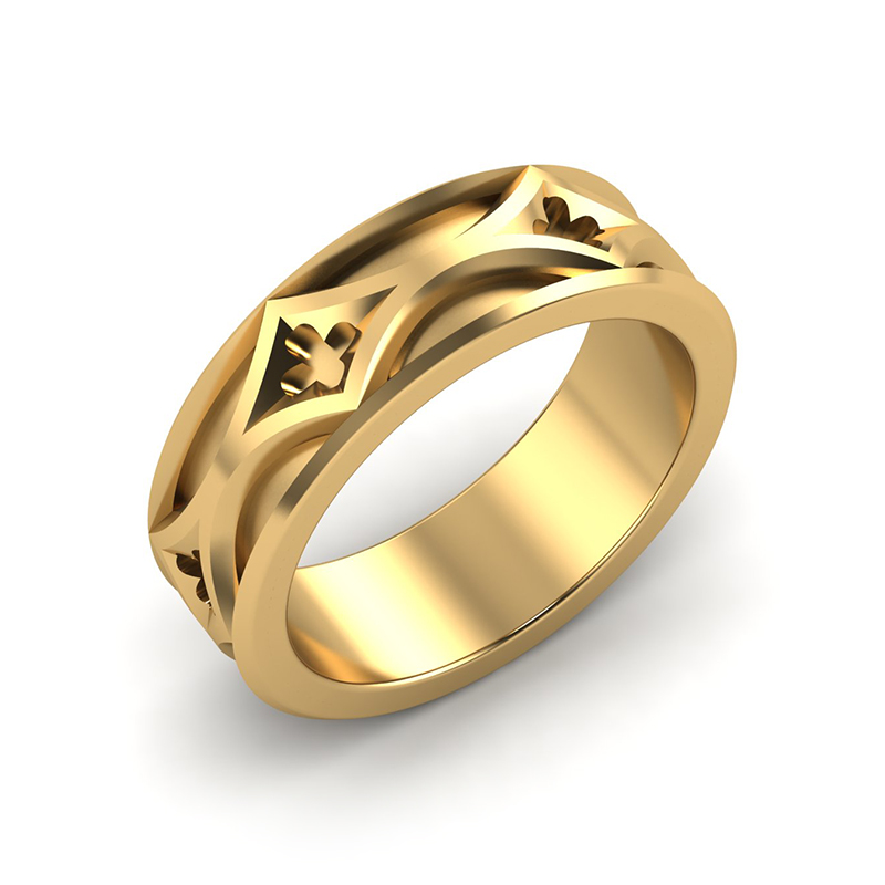 cathedral mens architectural wedding band 18ct yellow gold