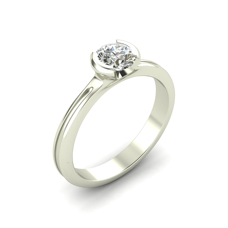 crux solitaire engagement ring with half bezel set round diamond