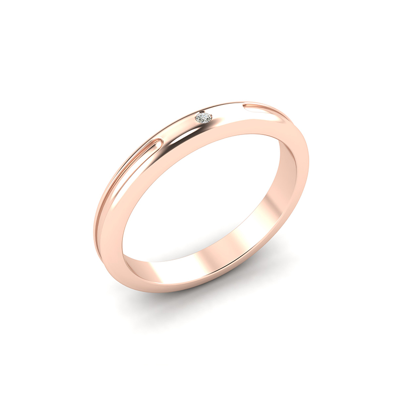crux ladies gypsy set wedding ring - 18ct rose gold