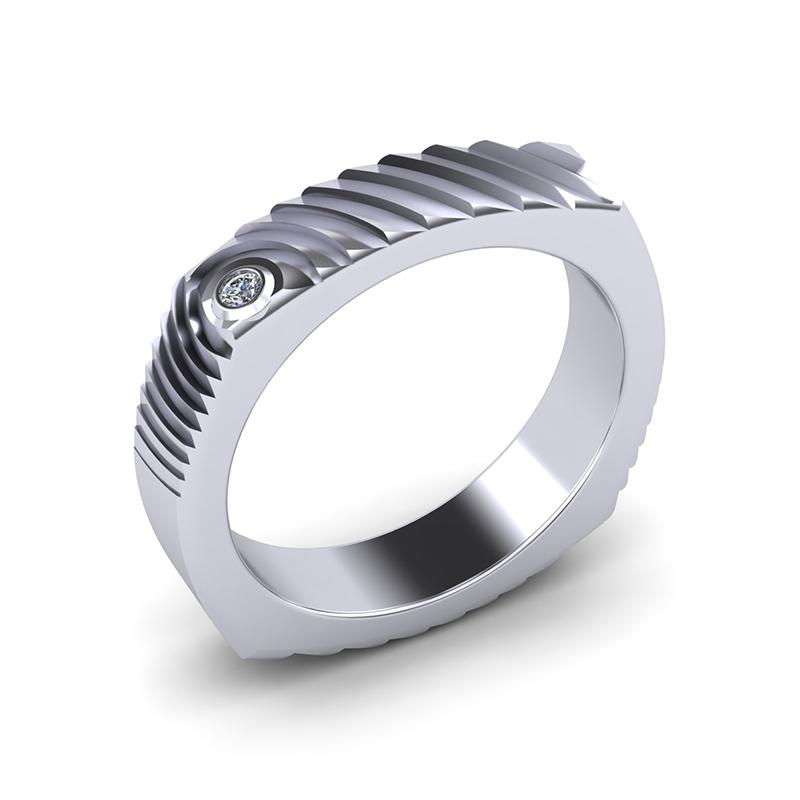 Echo square textured wedding band platinum
