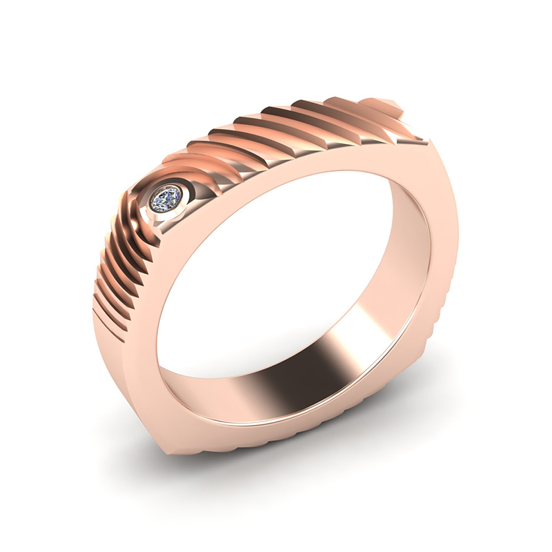 Echo square textured wedding band 18ct rose gold
