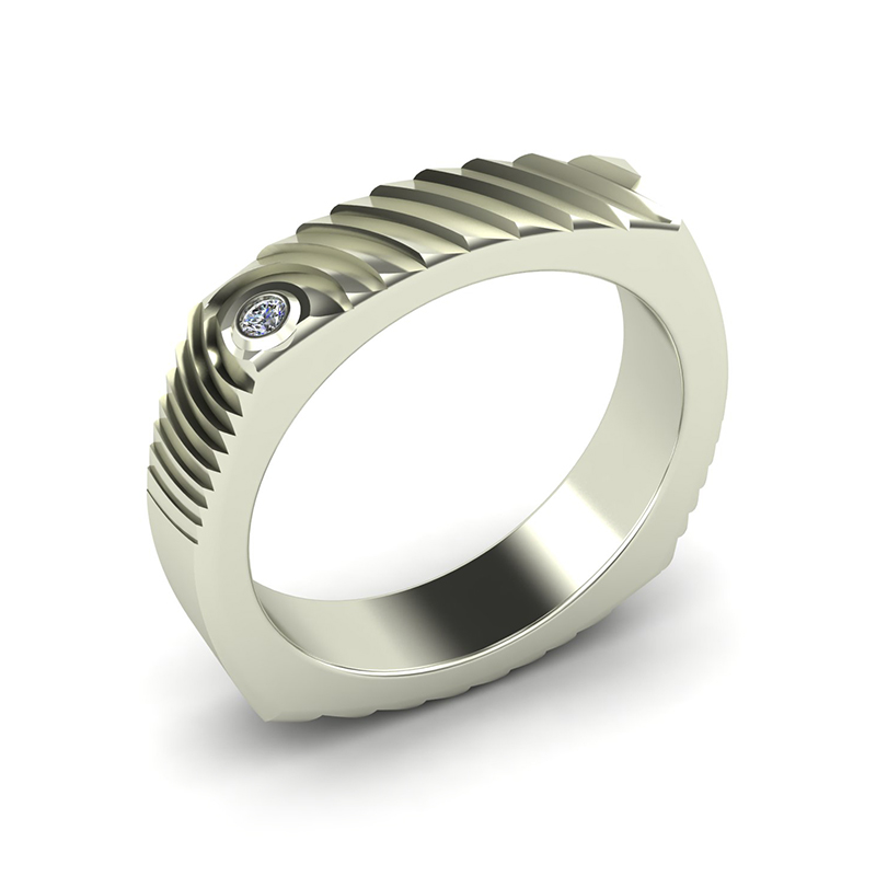 Echo square textured wedding band 18ct white gold