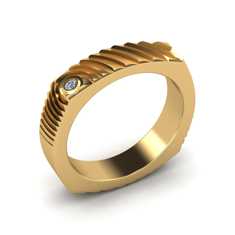Echo square textured wedding band 18ct yellow gold