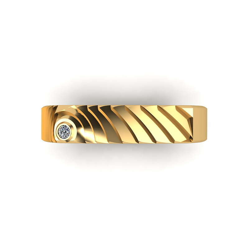 Echo square textured wedding band top view 18ct yellow gold