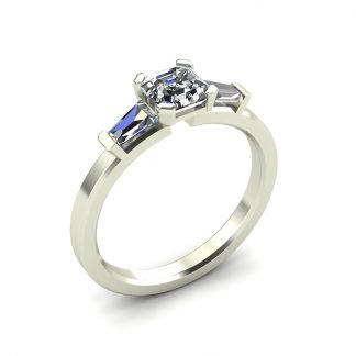 octagon three stone engagement ring