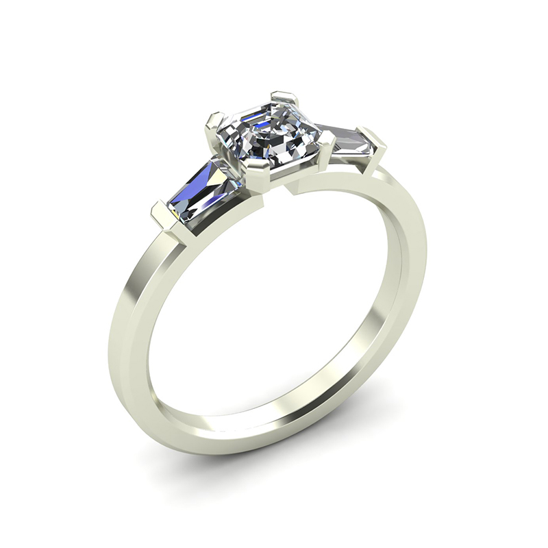 octagon three stone engagement ring