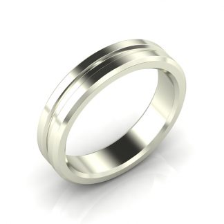 Octagon Mens Grooved Wedding Band
