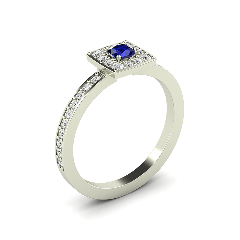 omega square cluster engagement ring with cushion cut sapphire