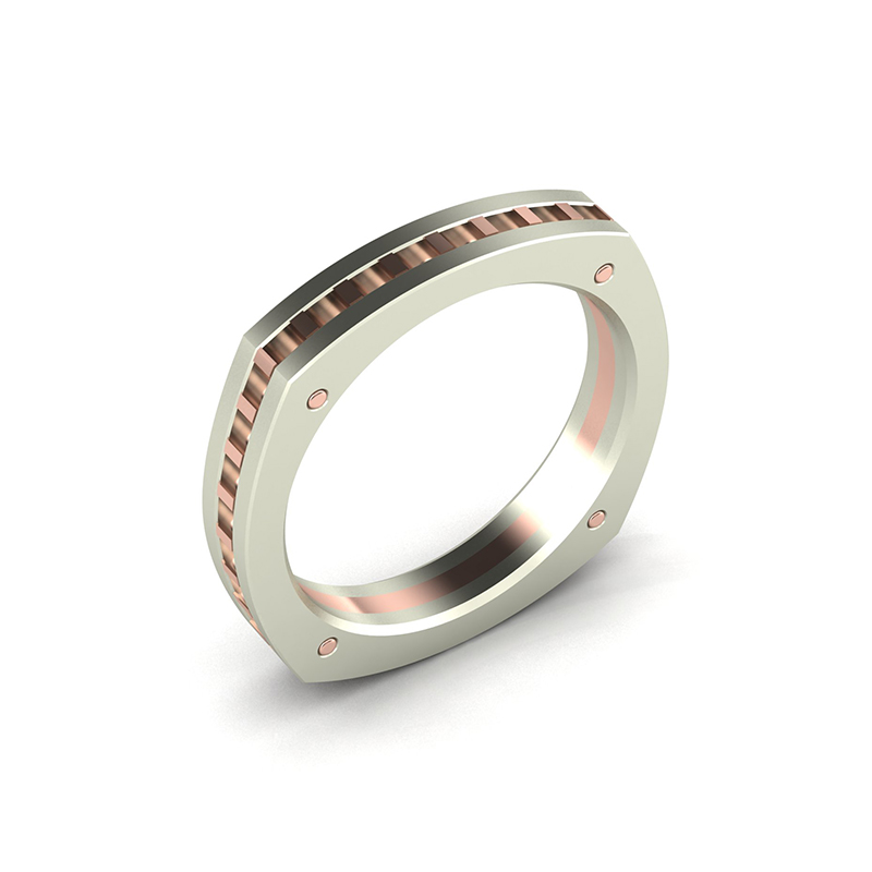 square cog ladies square wedding ring