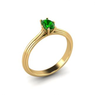 Wired solitaire grooved engagement ring with oval tsavorite garnet