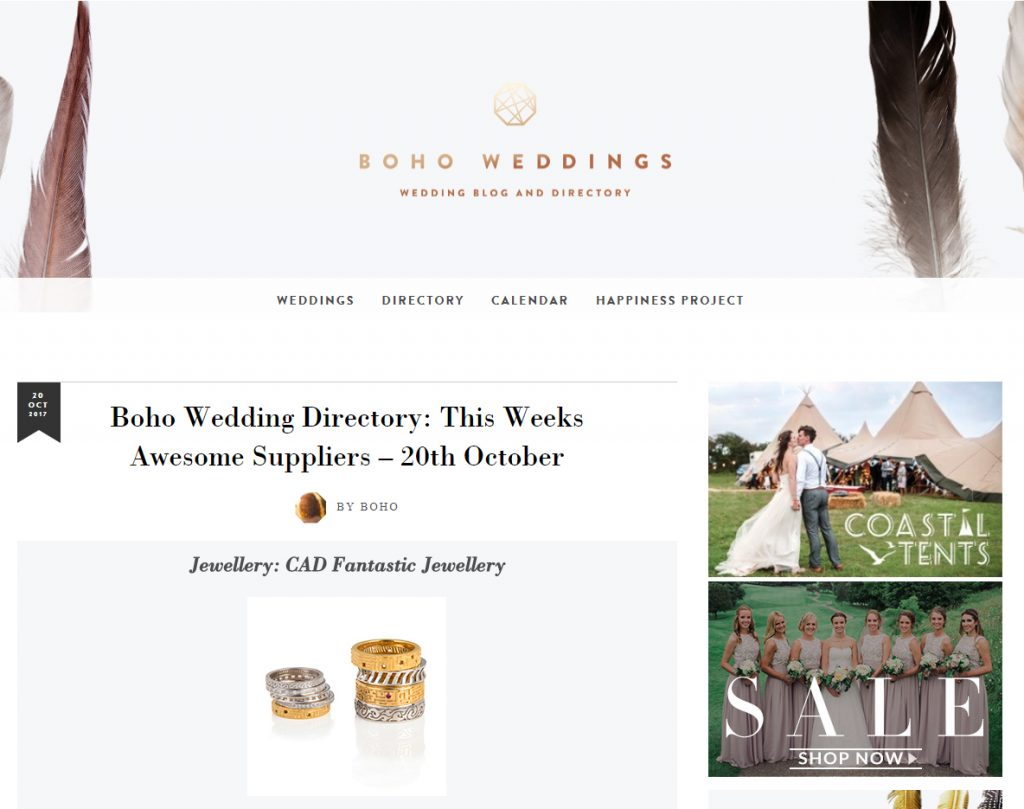 jewellery articles and press - Boho Weddings Feature - Oct 17
