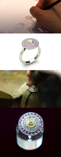 From the Relationship based bespoke design process, examples of jewellery design, CAD, manufacturing, and the finished ring