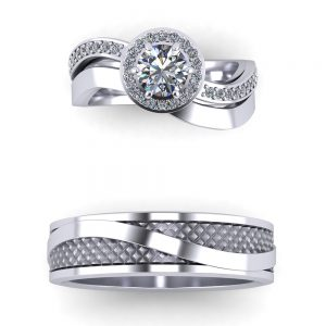 an example of custom couples wedding ring sets - matching wedding bands
